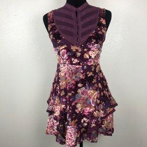 Free People Floral Purple Multi Color Velvet Silk